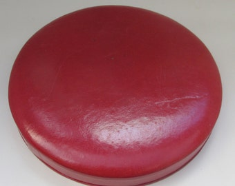 Vintage Mid Century Faux Red Leather Large Round Jewellery/Necklace Box