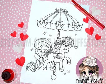 Valentine Rose Carousel Pony  - Clip Art - Digital Stamp