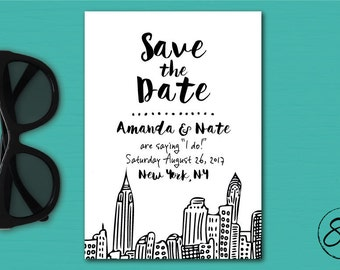 Fun NYC Printed Save the Date // New York Save the Date // NY Wedding Save the Date