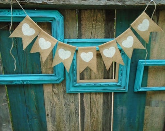 Heart Burlap Banner Garland Engagement Wedding Banner Garland