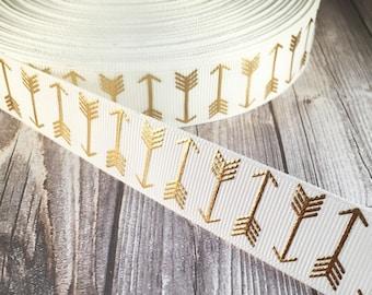 Arrow ribbon - White and gold ribbon - Boho arrows - Metalic foil ribbon - Coachella ribbon - Bohemian ribbon - Trendy ribbon - 3 or 5 yards