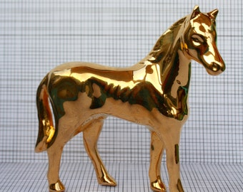 Vintage Ceramic Gold Painted Horse Made in Japan