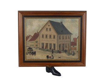19th Century German Oil Painting Shoe Factory and Store w/ Salesman's Sample Shoe
