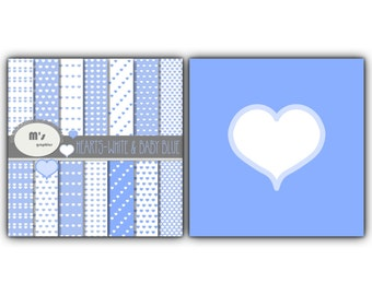 Digital Paper Pack Background HEARTS Patterns in Baby Blue and White. 14 digital papers for scrapbooking, web design, party decorations