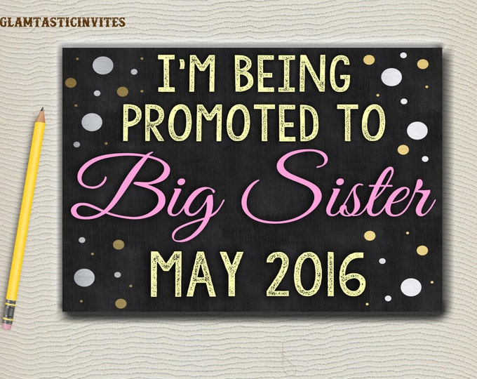 Big Sister Chalkboard Sign, I'm going to be a BIG SISTER, Chalkboard Sign, Pregnancy Reveal, Pregnancy Announcement, Digital, Big Sister