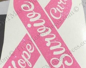Survivor, Cure, Hope, Breast Cancer Ribbon / Decal/bumper sticker/window sticker
