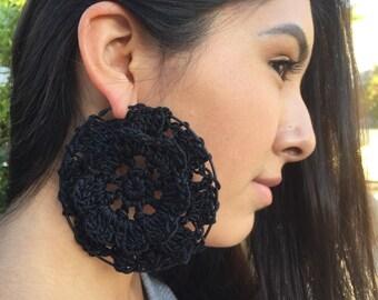 Hoop earrings ~ Gypsy Love hoop earrings  ~ Crocheted hoop eartings ~ Big earrings