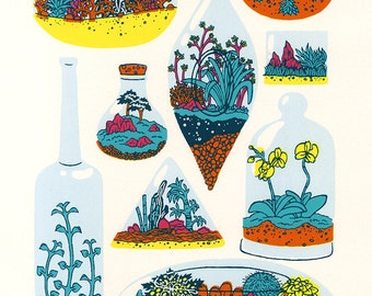 "Terrariums, Silk Screen Print (9""x11 1/2"")"
