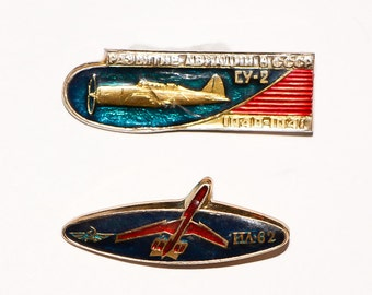 Russian plane hat pins vintage pin aircraft aviation Soviet aircraft pins Russian badge old pinback buttons aviation plane metal pin