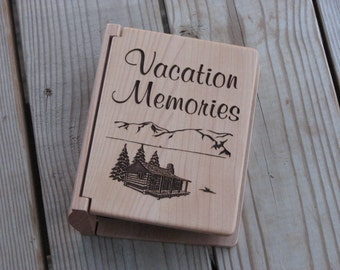 Laser Engraved Wood Photo Album - Vacation Memories - Gift Idea - Laser Engraved Gift - Memory Book