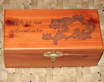 Laser Engraved Cedar Box with lock and key - Bear - Engraved Wood Box - Laser Engraved Gift - Outdoorsman