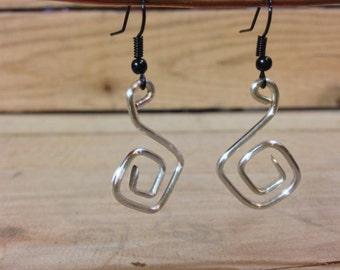 Silver dangle earrings, wire wrap jewelry, silver wire earrings