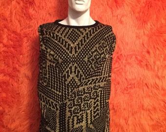 80s sweater New Years Eve black metallic gold vintage retro