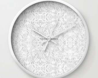 White Lace Wall Clock, You Choose Frame & Hand Colors!