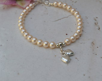 Swarovski Pearl and Sterling Silver Bracelet with Two Heart Charms