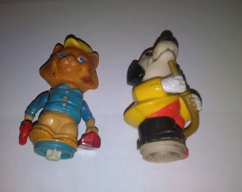 Vintage 1975 Mattel Richard Scarry Busytown figures lot of 2 Mechanic and Fireman