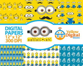 70% OFF SALE MINIONS Digital Paper Pack, Digital Papers, 6 jpg files 12 x 12 - Instant Download