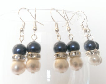 Dark blue pearl earrings, cotton pearl earrings, bridesmaid earrings, bridal pearl earrings, dark blue earrings, midnight blue, navy blue
