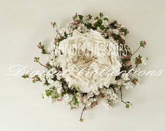 Wool and Flowers - Digital Backdrop - Floral Nest Prop for Newborn Photography