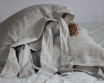 Linen Pillowcase Stone Washed Linen Organic Pillow Sham with Large Ties Standard Queen King Euro Pillow Case Linen Bedding Pillow Sham