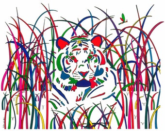 "Tiger in the Grass - 15.5"" x 12.5"" print made from an original ink drawing"