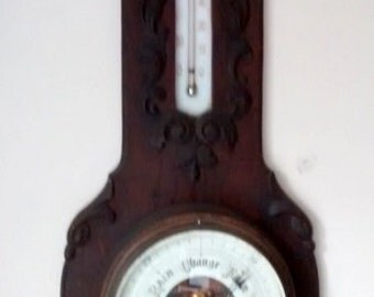 Antique  wall barometer and thermometer with Réaumur and Celsius scale