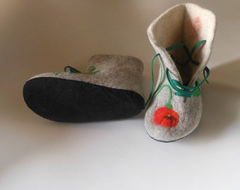 Felted slippers Eco shoes Women home shoes Felted wool slippers Slippers Organic shoes