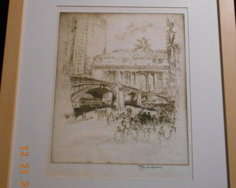Joseph Pennell, The Approach To Grand Central, etching 1919, W# 692, pencil signed.....