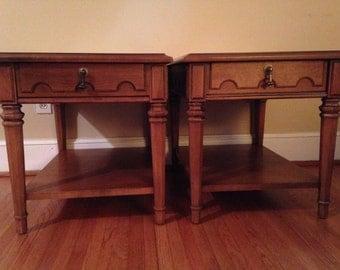 Pair Vintage Mid Century Drexel Heritage Esperanto End Side Tables