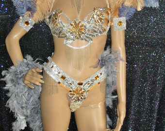 One of a kind Beige & Gray/ Silver costume
