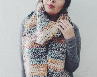 Rainbow Wool Crochet Oversized Scarf