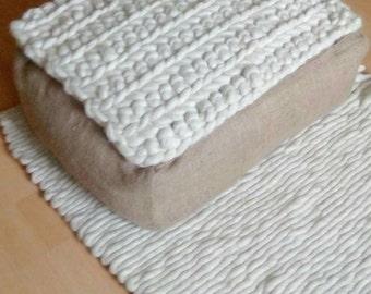 Eco-friendly floor pillow, Wool and jute floor pillow, Floor cushion, Pouf ottoman, Ottoman