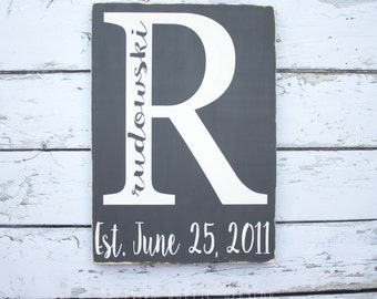 Personalized Last Name Sign, Wood Sign, Family Sign, Wedding Gift, Established Sign, Anniversary Gift