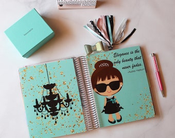 "Happy Planner Cover Set: ""Audrey Hepburn"", 10 Mil Laminated"