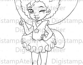 Little Afro Ballerina. INSTANT DOWNLOAD Digital Digi Stamps.