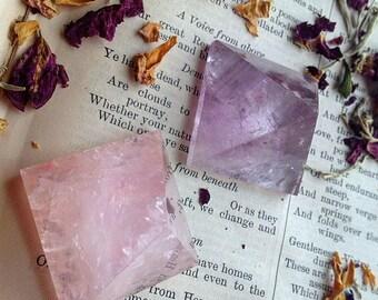 Amethyst and Rose Quartz Pyramids