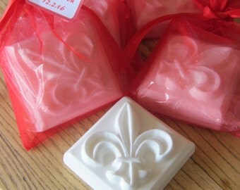 Fleur De Lis Scented Goat's Milk Soap 3.5 oz  : Wedding and Party Favors - Set of 10 with Red Organza Bag and Customized Tag