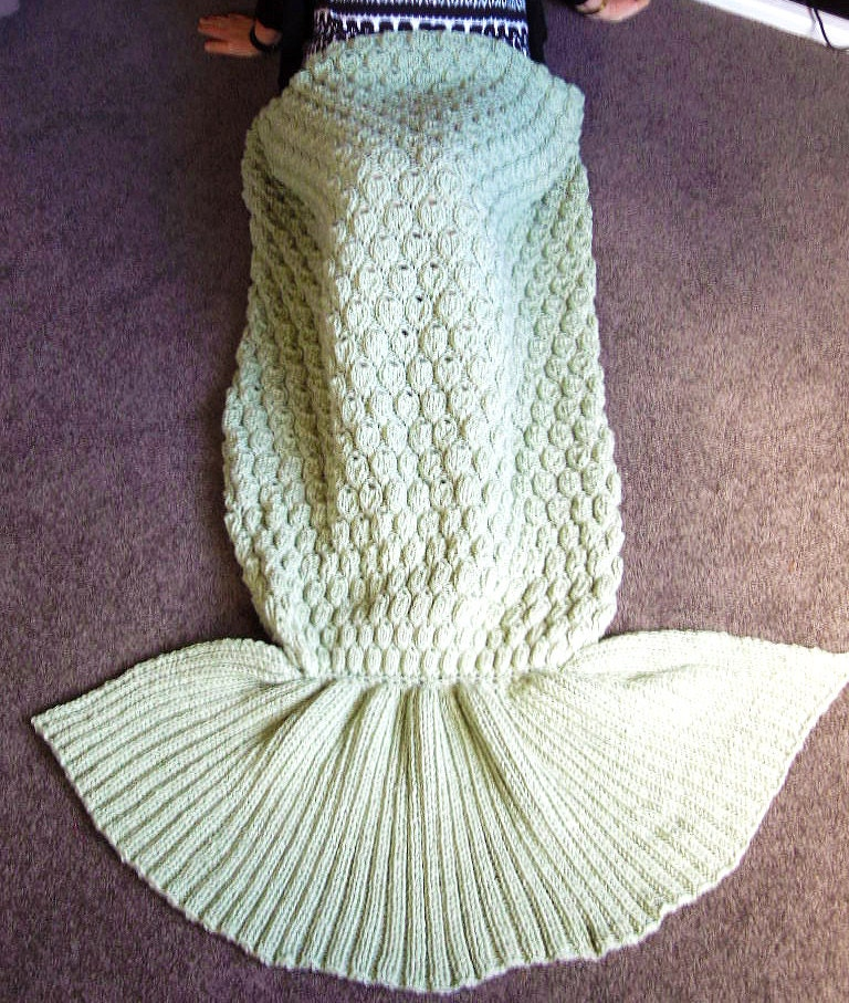 Knitting PATTERN Mermaid Tail Blanket Instant Download