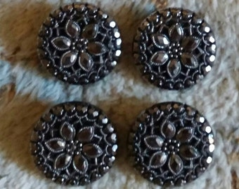 4 vintage glass buttons