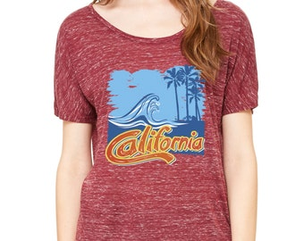 Golden State Palm Trees California Republic  Slouchy Tee
