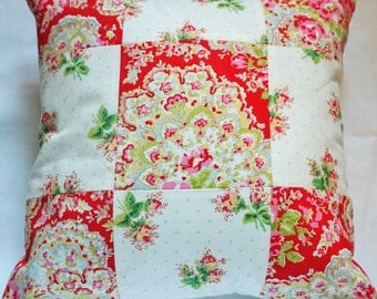 Cath Kidston fabric PAISLEY ROSE patchwork cushion pretty vintage style shabby chic  12in x 12in