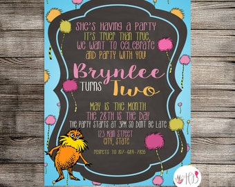 The Lorax Birthday Invitation, The Lorax Birthday Party, The Lorax Invitation- Printable Invitation
