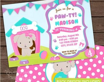Girl Puppy Invitation / Birthday Invitation / Party Invitation / Digital File