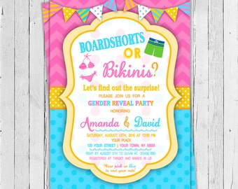 Pool Party Gender Reveal Invitation / Printable Invitation