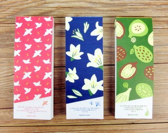 Cute Korean note pad , mini note pad, birds,flowers,fruit note pad. memobook. to do list notes, shopping list.
