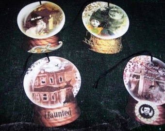 FOUR Vintage Halloween Witch's Crystal Ball Hang Tags / Gift Tags
