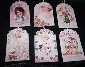 SIX Vintage Ladies Fashion and Tea Hang Tags / Gift Tags