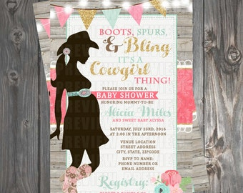 Cowgirl Rustic Baby Shower Invitation