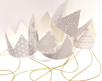 Grey and White Party Hats Mini Party Crowns