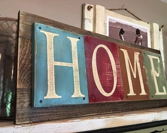 Home Rustic Wood Distressed Sign
